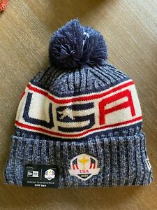 2020 Ryder Cup USA Blue New Era Knit Pom Hat Golf Whistling Straights 2021