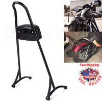 Detachable Sissy Bar Backrest Cushion Pad Black For Harley Sportster XL 883 1200