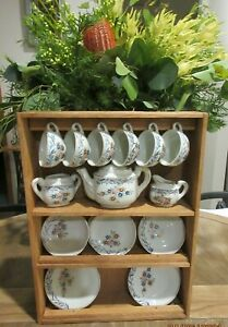 VINTAGE 1950s CHILDRENS TEA SET/JAPAN COMES WITH A DISPLAY CABINET 21 PIECES GC