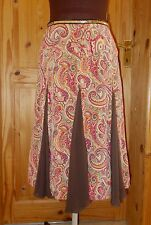 KAREN MILLEN brown orange green paisley floral SILK chiffon midi boho skirt 10