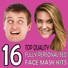 16 PERSONALISED FACE MASKS PHOTO BIRTHDAY PARTY STAG DO HEN NIGHT FUN DRESS New