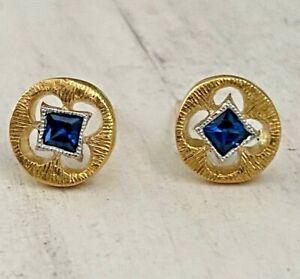 Designer CATHY WATERMAN  22K Yellow Gold Platinum & Blue Sapphire Stud Earrings
