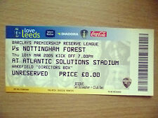 Tickets/ Stubs Reserve League 2006- LEEDS UNITED v NOTTINGHAM FOREST, 10 March