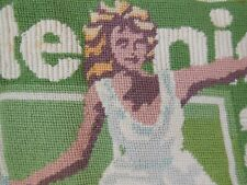 Needlepoint hand stitched Tennis theme pillow cover