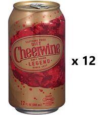 Caffeine Free DIET CHEERWINE Soft Drink Soda - Lot of 12 - 12oz Cans FRESH! Pack