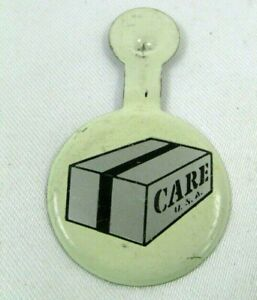 1950s-60s Vintage Fold Over Button CARE USA Package Box Logo