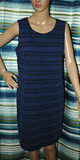 "Women's Dress AGB Juniors' Blue/Black Sz 12 Geometric Sleeveless Dress 37"" Long"
