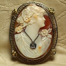 Antique Carnelian Shell Habille Cameo Pin/Brooch 14K Yellow & White Gold Frame