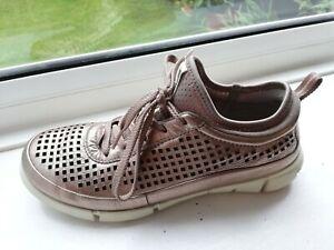 Ecco ladies bronze leather shoe sock Lace up comfort shoes size 4D UK /37 EU