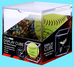 ULTRA PRO SOFTBALL CUBE HOLDER w/ STAND Ball Display Case Acrylic Clear Plastic