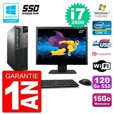 "PC LENOVO M82 SFF Screen 27 "" i7-2600 RAM 16Go SSD 120Go DVD Burner Wifi W7"