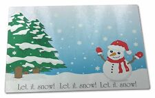 Snow Man X Large Glass Cutting Chopping Board , Snow-1GCBL