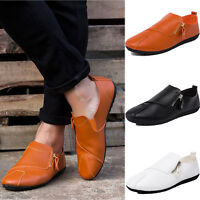 Men Driving Flats Casual Moccasins Slip On Loafers Shoes Zipper PU Waterproof