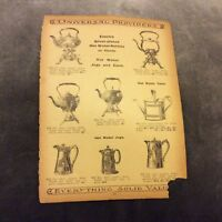 Antique Catalogue Page - Hot Water Kettles & Tea Trays