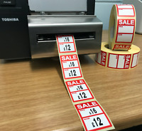 Red - Sale was / now Price Stickers / Labels For Use With Thermal Printers