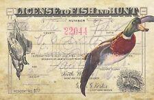 Vintage Duck Goose Hunting License Art Print 11x17 Decoys Calls Fish Cabin Decor