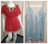 Micro Short Mini Dress Blue Sequin & Kaftan Red Beaded Top Party Beach Primark