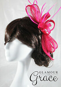 Poppy pink sinamay fascinator races Melbourne Cup carnival wedding RRP$50
