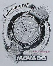 PUBLICITE MONTRE MOVADO CALENDOGRAF PRECISION DU CADRAN DE 1947 FRENCH AD WATCH