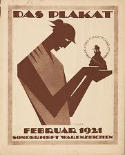 Original Vintage German Magazine Das Plakat 1921 Poster Art Hans Sachs Design
