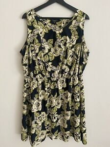 New Look Inspire Navy White And Neon Floral Dress Size 20