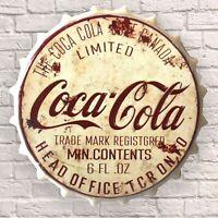 Retro COCA COLA UK SELLER Wall Sign Man cave Bar Garage Shed RARE BOTTLE TOP