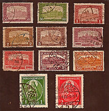 HUNGARY, 11 1917-32 Palace of Buda, Parliament + Stamps, Used, See Descr FUS594