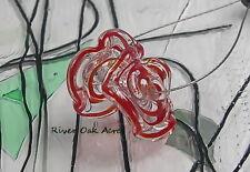 ROA Lampwork 2 Filigree Red Purple Ruffle Handmade Disc Art Glass Beads SRA