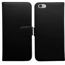 JET BLACK Premium Leather Flip BOOK WALET Case Cover For Apple iPhone 7 + Glass