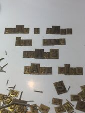 Vintage Rare Small Brass Letters And Numbers With Tacks 170+ In Navy Cut Tin