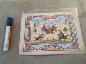PERSIAN MINIATURE MEN WOMEN PLAYING POLO HORSES ART HAND MADE on BONE 1800s !