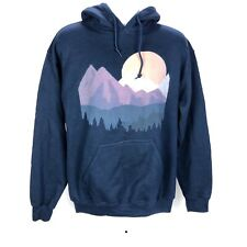 Gildan Men's Blue Hoodie Medium Colorful Mountain Sun Nature Print Heavy Blend