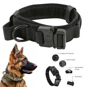 🐶Taktisches Hundehalsband Leinen Set Halsband Verstellbar Gepolstert mit Griff