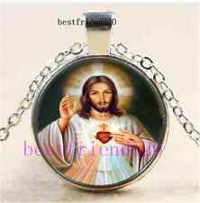 Sacred Heart Of Jesus Photo Cabochon Glass Tibet Silver Pendant Necklace