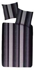 Microfaser Bettwäsche Set 2 teilig 155 x 220 cm Grau/Schwarz gestreift