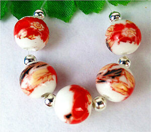 5Pcs 10mm White Ceramic Red Applique Height Hole Ball Bead AP60831