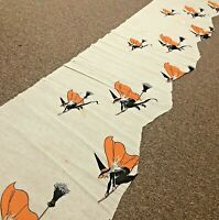 "Vintage Halloween Crepe Paper 1940s 79"" x 14"" Witch On Broomstick Owls Moon"