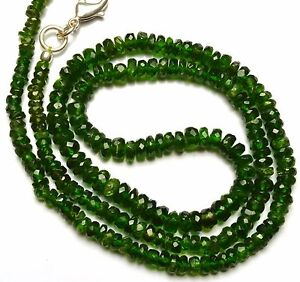 """SUPER TOP QUALITY CHROME DIOPSIDE FACETED 3 TO 5MM RONDELLE BEADS NECKLACE 16.5"""""""