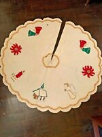 "VINTAGE CHRISTMAS TREE SKIRT CREAM FELT WOOL SEQUINS APPLIQUÉ 42"" Round"