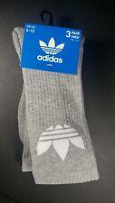 New Mens Adidas Retro Logo Sport Gym Fitness Street 3 Pack Crew Cut Socks Gray