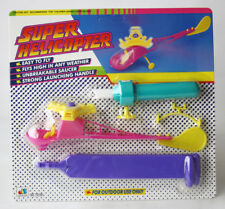 VINTAGE 90'S SUPER FLYING HELICOPTER OUTDOOR WIND UP LAUNCHER NEW SEALED !