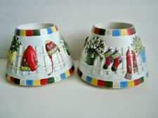 2 Yankee Candle Jar Shade Toppers Winter Christmas Vintage Large 6 1/2 Inch