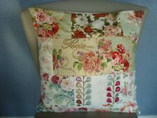 #B DESIGNER PRINTS PATCHWORK PINK  ROSE FABRICS  CUSHION COVER for 18in pad