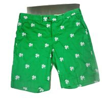 Loud Mouth mens golf shorts size 38 green white embroidered shamrocks st. pats