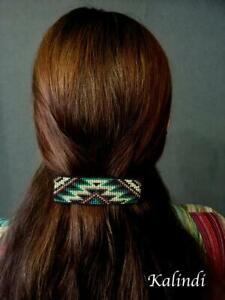 Green Beads Barrette/ Huichol Hair Brooch/ native american beadwork