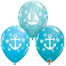 "Boys Blue Sailor Latex Balloons Under Sea Assorted 11"" Pack of 25 Baby Qualatex"