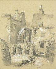 Dibujo antiguo representando un moulin de agua