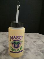 "Vintage Insulated Mardi Gras New Orleans Water Bottle Mid 1980's 7 1/8"" Tall"