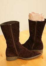 8 Chocolate Brown Suede GUM SOLE Pointy Toe Mid Calf Boots HIGH QUALITY