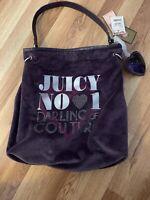 Juicy Couture Purple Velvet Velour Large Shoulder Hobo Handbag